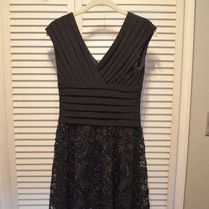 Adrianna Papell Black Lace Dress with Banded Top